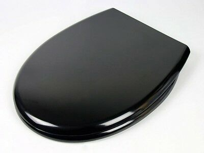 Black Luxury Heavy Duty Soft Close White Toilet Seat   with TOP FIXING Hinges