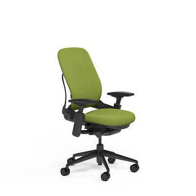Steelcase Leap Adjustable Desk Chair V2 Buzz2 Meadow Green Fabric + Black Base