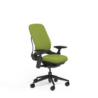Large Steelcase Leap PLUS Adjustable Desk Chair Buzz2 Meadow Green Fabric 500 lb