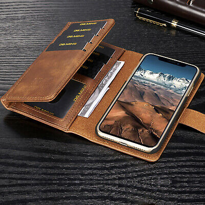Removable Flip Leather Wallet Card Holder Case Magnet Cover For iPhone X 7 Plus