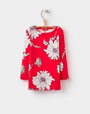 Joules Girls Harbour Print Jersey Top 1-6 yrs in 100% Cotton in Red Peony Print