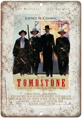 """10"""" x 7"""" Metal Sign - Tombstone Movie Poster Vintage Look Reproduction"""