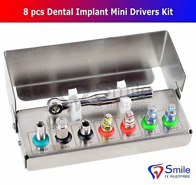 Dental Implant Mini Drivers Kit Universal Ratchet Wrench Hex Screws 8 Pcs CE UK