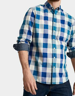 Joules Mens Hewitt Slim Fit Shirt in 100% Cotton Blue Teal Gingham Check