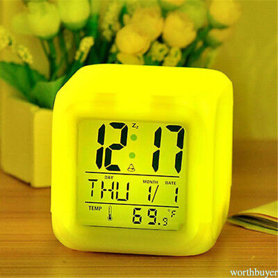 Alarm Clock Cube 7 Color Changing LED Digital Glowing Morning Multi-Funtional M