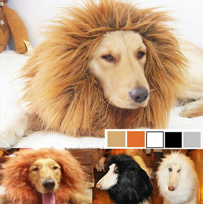 Large Pet Dog Halloween Pet Cosplay Fancy Dress Up Costume Lion Mane Wig Clothes