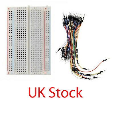 400 Tie Points Solderless PCB Breadboard + 65pcs Jumper Wires Cable UK STOCK