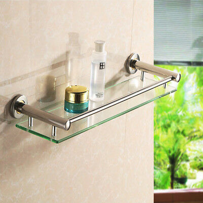 Modern Glass Bathroom Bath Shower Rectangle Shelf Organizer Holder Wall Mounted
