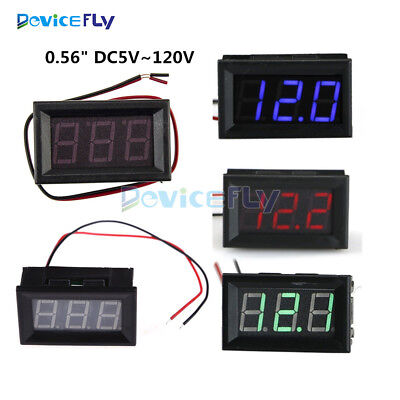 0.56'' Mini DC 5-120V Voltmeter LED Panel 3 Digital Display Voltage Meter 2 wire