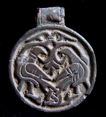 Scandinavian,Viking Bronze Round Amulet with Birds 1000 AD