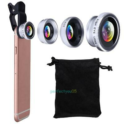 3in1 Mobile Phone Lens Set Fish Eye Wide Angle Macro Clip Kit for iPhone Samsung