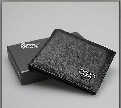 AUDI Wallet black Cow Leather Bifold Men Purse Car Pouch Auto Notecase Xmas Gift