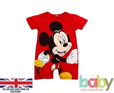 Mickey Mouse Baby Romper Bodysuit Jumpsuit Sleepsuit Kids Boys Clothes Outfit UK