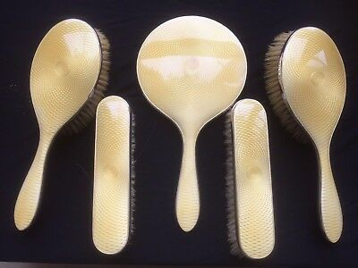 5 Piece Art Deco Solid Silver & Yellow Guilloche Enamel Mirror & Brushes Set