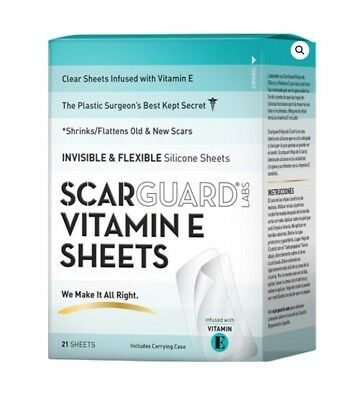 Scarguard Labs Vitamin E Sheets Clear Silicone Scar Sheets Ultra Thin 21 Count