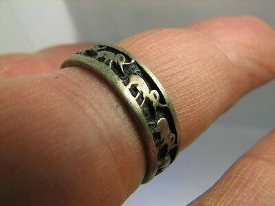 Elephants ! Author's Work! Vintage Sterling Silver Ring #6253