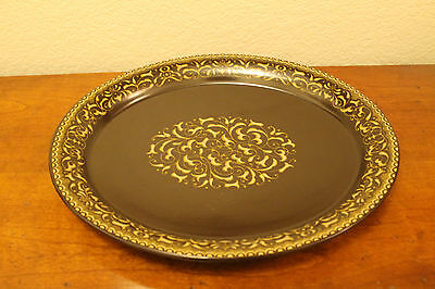 Franciscan Ware JAMOCA Serving Plate Brown and Gold Scroll Stoneware Vintage