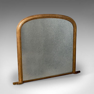Large Wall Mirror Overmantle English Antique Regency Form - Gilt Finish 20th C