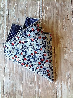 NEW Pocket Square Navy White Red Floral Polka Dots Reversible Gift Cotton