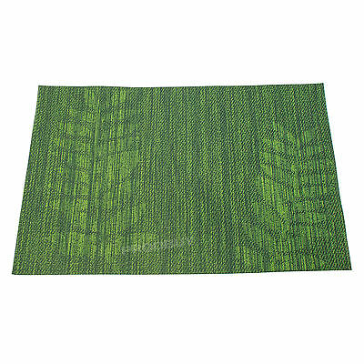 Green Leaf Rectangular Woven Fabric Placemats Table Setting Place Mats Dining