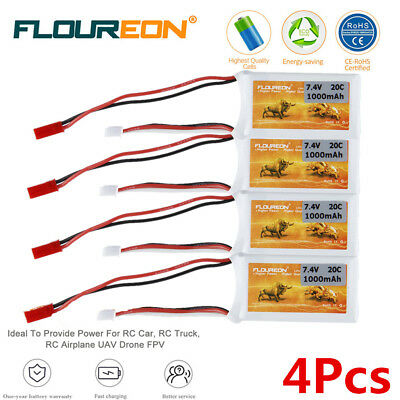 4x 2S 20C 7.4V 1000mAh Li-Po Battery JST-XH for RC Car Helicopter Airplane Drone