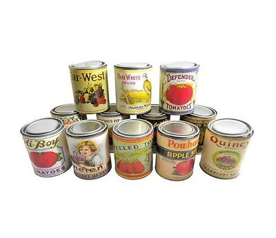 12 Vintage Food Tin Canisters - Decorative Antique Food Tin Canisters