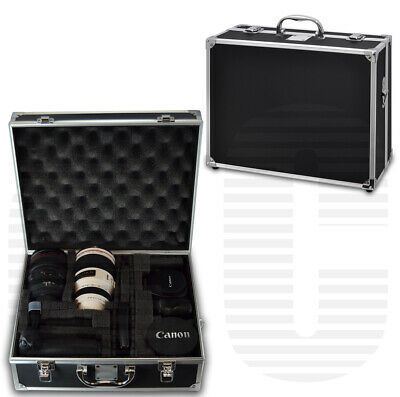 Small Hard Case for Camera / Camcorder Equipment | Black & Chrome, bag