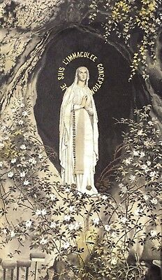 Angel's Estate Vtg Antique Grotto Of Lourdes French Woven Shiny Silk Picture