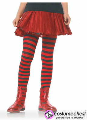 11-13 years Girls Black And Red Striped Tights by Leg Avenue
