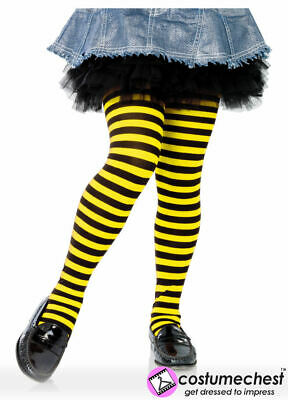 7-10 years Girls Black And Yellow Striped Tights by Leg Avenue