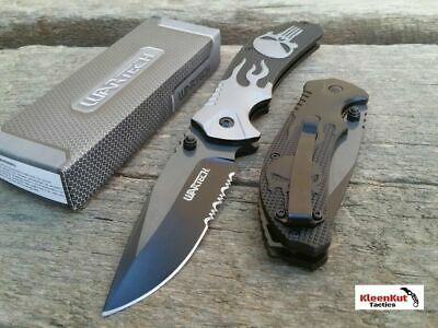"8"" Overall Grey Assisted Open Skull Pocket Knife"