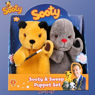 The Sooty Show Sooty & Sweep Plush Hand Puppet Set with Magic Wand