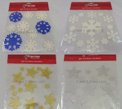 Christmas Decorations Window Gel Stickers Christmas Gels Stars & Snowflakes NEW
