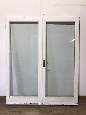 2 glass panel solid wood french doors picclick uk for All glass french doors