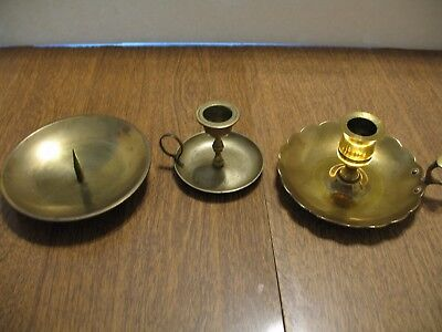 Lot of 3 Brass Candle Holders Finger Holders Vintage