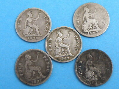 5x KING WILLIAM IV & VICTORIA SILVER GROAT FOURPENCE COINS 1836 1837 1839 1849