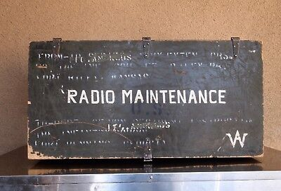 Vintage Wooden US Military Trunk Crate Chest Radio Maintenance