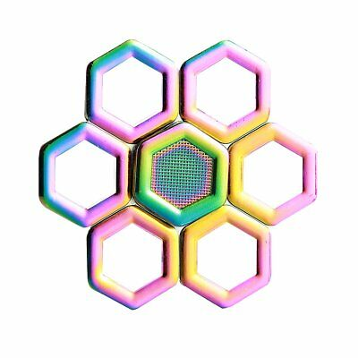 Geometric Hexagon Metal Alloy Rainbow Hand Spinner Focus ADHD Autism Fidget Toy