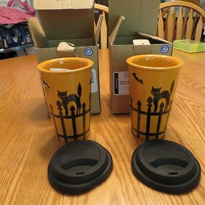 Longaberger Set of 2 2011 Halloween Pottery Travel Cups/Mugs with Black Lids NEW