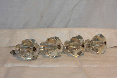 4 Antique Sandwich Glass Large Hexagon Cupboard Drawer Door Knobs