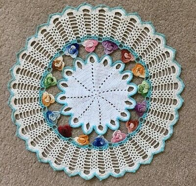 Vintage Hand Crocheted  Cotton Doily/ Mat With Pansies.