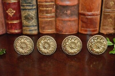 Antique Set of 4 French Brass Decorative Floral Furniture Cabinet Knobs