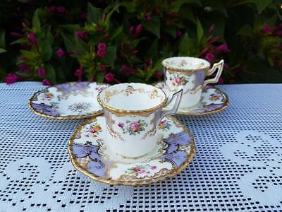 Coalport Batwing Lilac Demitasse cups & saucers for T Goode & Co