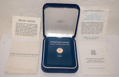 1. Complete With Box, Coa 1980 $25 Gold Coin British Virgin Islands, Franklin Mt