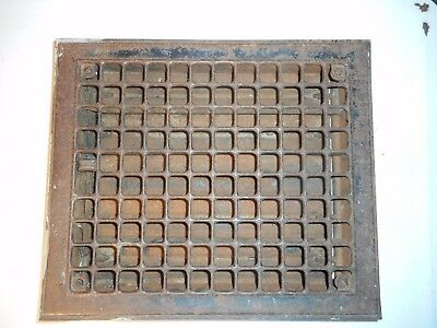 "Antique Vintage Metal Heat Register Floor Wall Grate Decor 14"" x 12"""