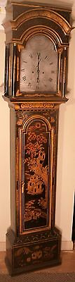 "Antique Black Lacquered Case "" Newport "" Longcase / Grandfather Clock"