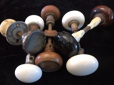 Large Lot Of Old Door Knobs Handles Hardware Farmhouse French Craft Brass Enamel