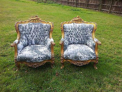 Pair Of Antique Princess Sumptuous Pearl Green Crushed Velvet Rococo Arm Chairs