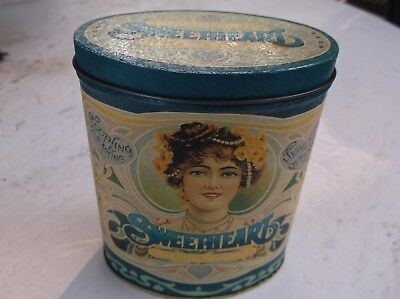 SWEETHEART  HIGHLY PERFUMED TALCUM POWDER TIN MANHATTAN SOAP  RISQUEWOMAN 1920's