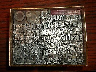 LOT OF 540 + PIECES LETTERPRESS PRINTERS TYPE LETTERS NUMBERS LEAD BLOCKS No.32